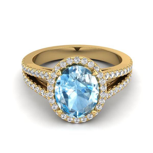 3 Sky Blue Topaz & Micro VS/SI Diamond Halo Ring 18k Yellow Gold - REF-53K5Y
