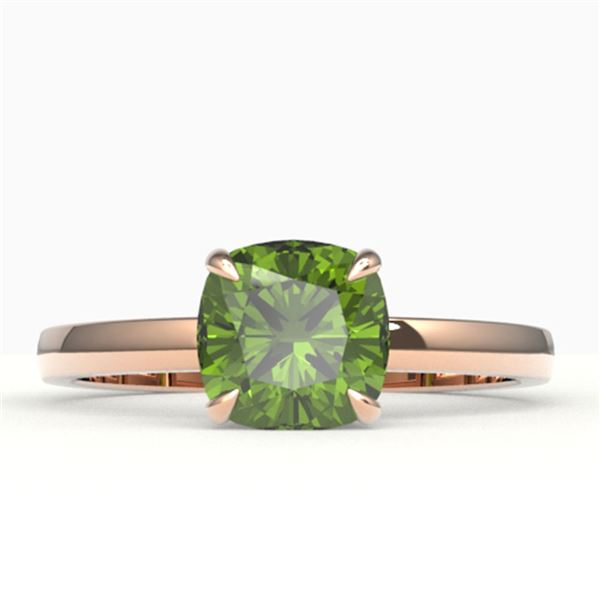 2 ctw Cushion Cut Green Tourmaline Solitaire Engagment Ring 14k Rose Gold - REF-22X8A