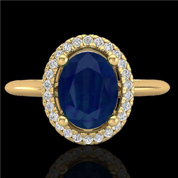 2 ctw Sapphire & Micro Pave VS/SI Diamond Ring Halo 18k Yellow Gold - REF-40W9H