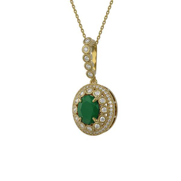 4.67 ctw Certified Emerald & Diamond Victorian Necklace 14K Yellow Gold - REF-139G8W