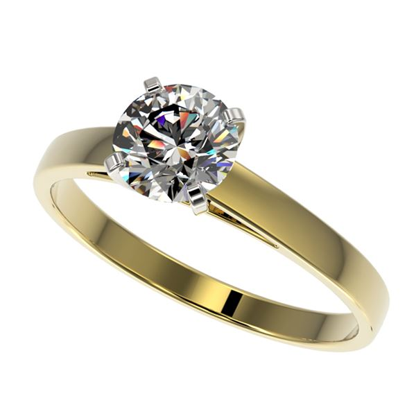 0.97 ctw Certified Quality Diamond Engagment Ring 10k Yellow Gold - REF-139X2A