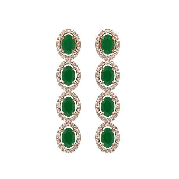 6.47 ctw Emerald & Diamond Micro Pave Halo Earrings 10k Rose Gold - REF-143R6K