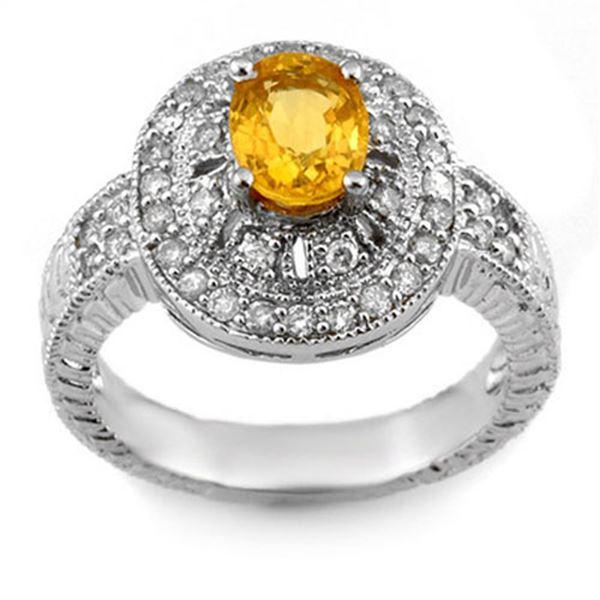 2.08 ctw Yellow Sapphire & Diamond Ring 14k White Gold - REF-87R3K