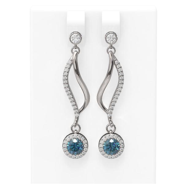 1.86 ctw Intense Blue Diamond Earrings 18K White Gold - REF-201Y5X