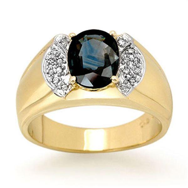 2.0 ctw Blue Sapphire & Diamond Ring 10k Yellow Gold - REF-47M9G