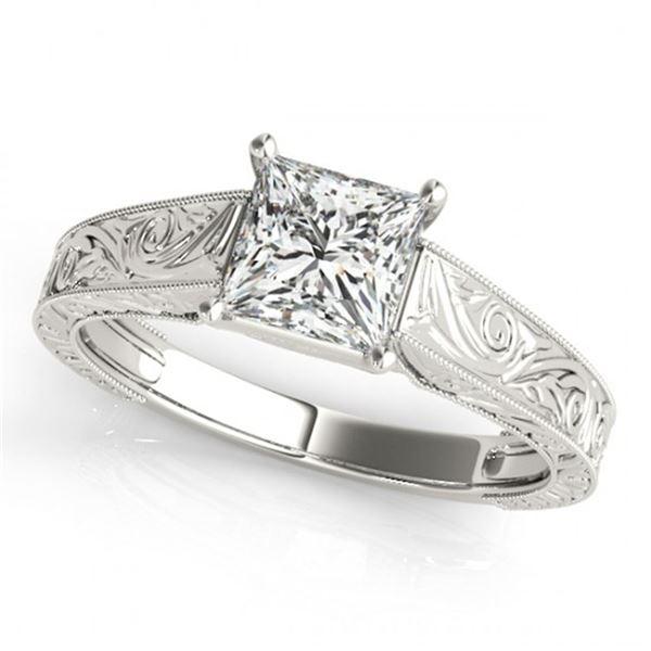 0.75 ctw Certified VS/SI Princess Diamond Ring 18k White Gold - REF-135F2M