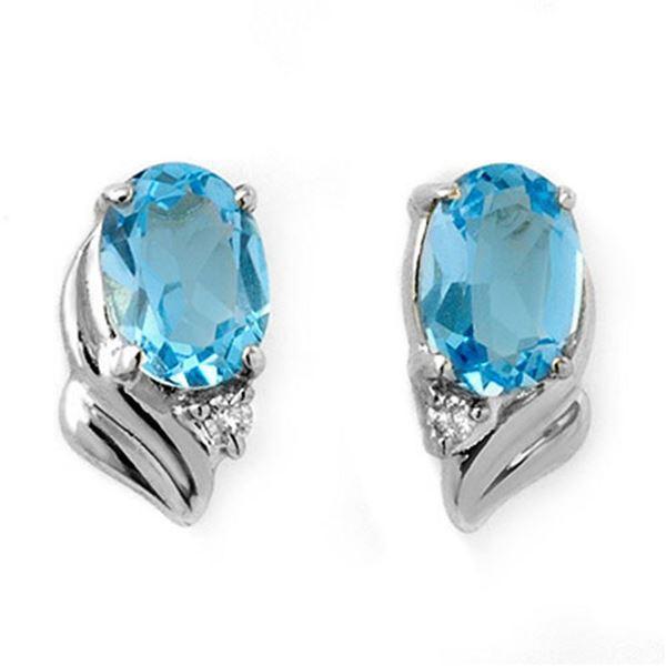 1.23 ctw Blue Topaz & Diamond Earrings 18k White Gold - REF-14G6W