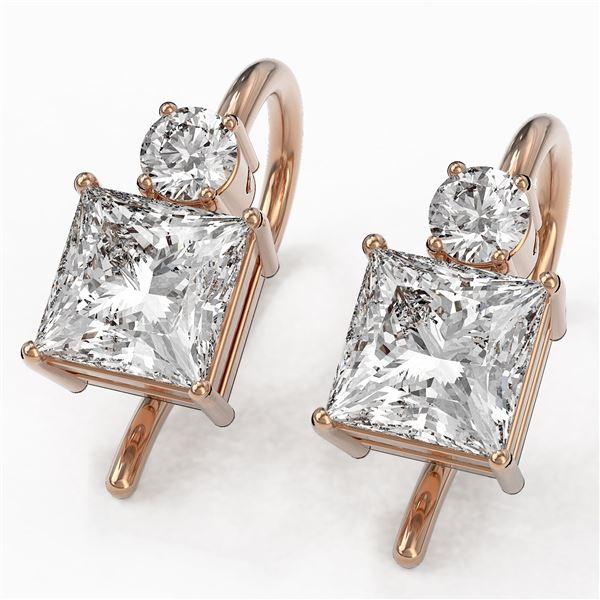 1.25 ctw Princess Cut Diamond Designer Earrings 18K Rose Gold - REF-170A2N