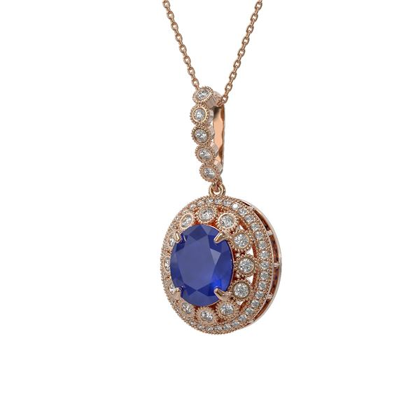 8.66 ctw Sapphire & Diamond Victorian Necklace 14K Rose Gold - REF-192K2Y