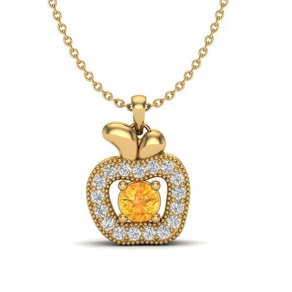 0.30 ctw Citrine & VS/SI Diamond Micro Pave Necklace 18k Yellow Gold - REF-22Y8X