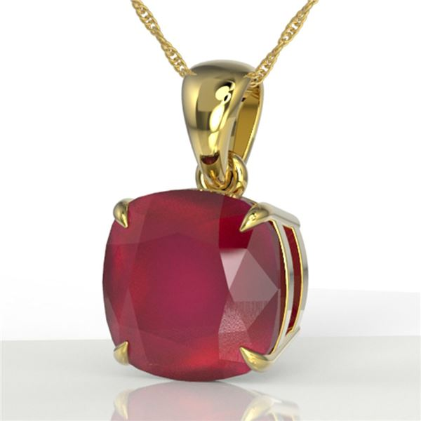 6 Cushion Cut Ruby Designer Solitaire Necklace 18k Yellow Gold - REF-49W3H