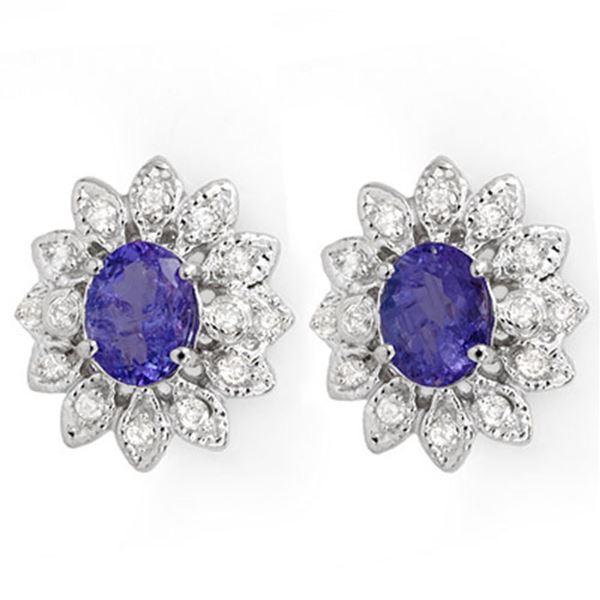 3.70 ctw Tanzanite & Diamond Earrings 14k White Gold - REF-108W8H