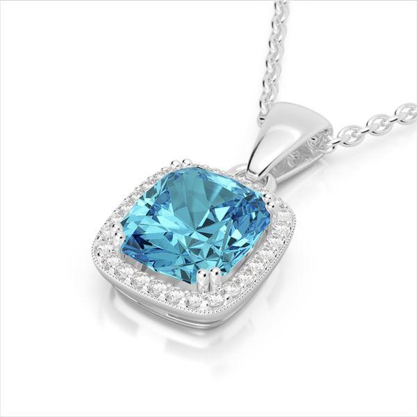 3.50 ctw Sky Blue Topaz & Micro VS/SI Diamond Necklace 18k White Gold - REF-40N2F