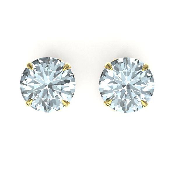 4 ctw Sky Blue Topaz Designer Stud Earrings 18k Yellow Gold - REF-22A2N