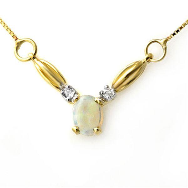 1.30 ctw Opal & Diamond Necklace 10k Yellow Gold - REF-16R2K