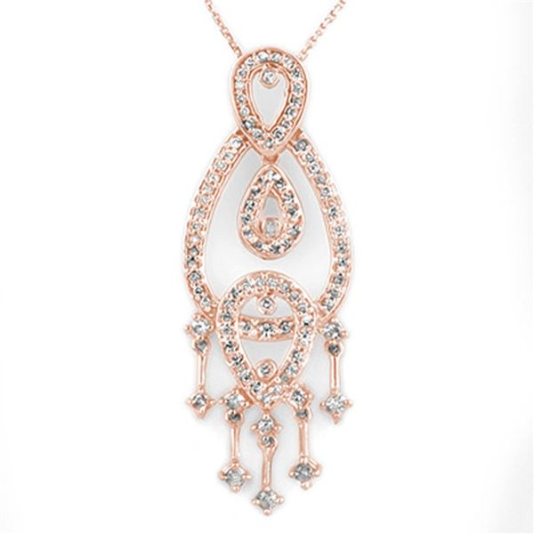 1.0 ctw Certified VS/SI Diamond Necklace 14k Rose Gold - REF-86Y9X