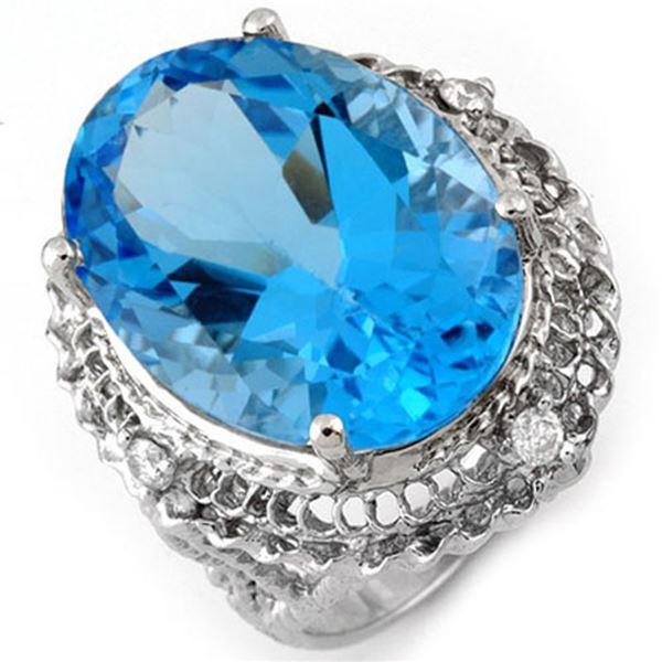 18.15 ctw Blue Topaz & Diamond Ring 10k White Gold - REF-49N3F