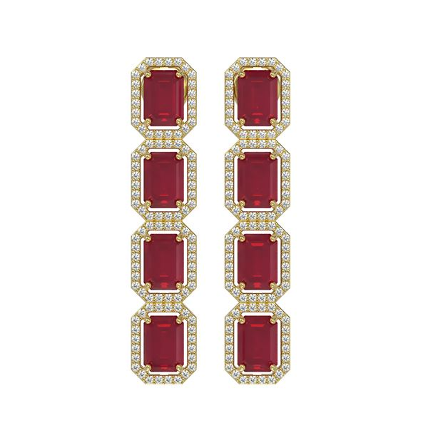 12.33 ctw Ruby & Diamond Micro Pave Halo Earrings 10k Yellow Gold - REF-168A2N