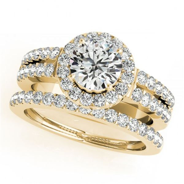 1 ctw Certified VS/SI Diamond 2pc Wedding Set Halo 14k Yellow Gold - REF-113F2M