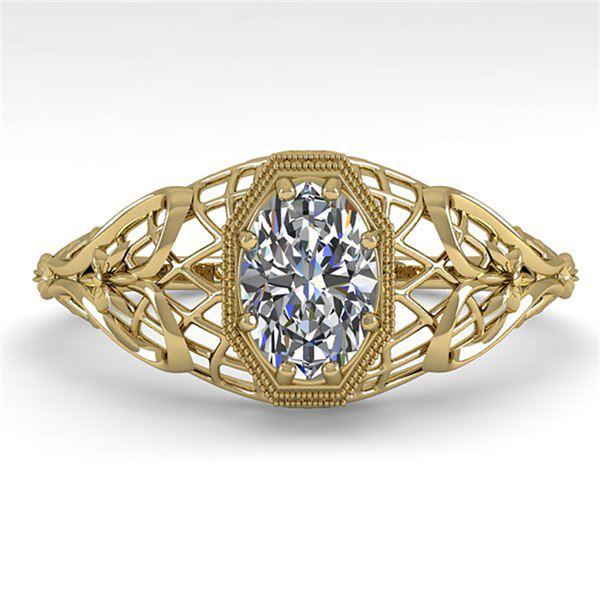 0.50 ctw VS/SI Oval Diamond Engagment Ring Art Deco 18k Yellow Gold - REF-104A8N