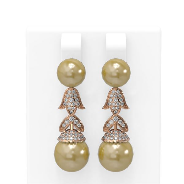 1.01 ctw Diamond & Pearl Earrings 18K Rose Gold - REF-154N2F