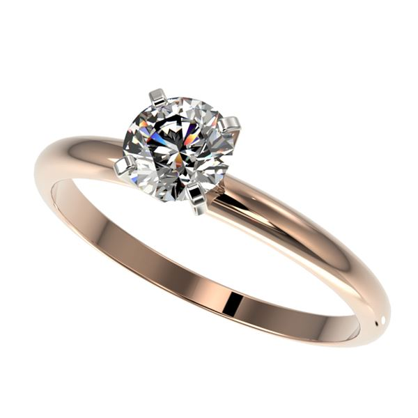 0.76 ctw Certified Quality Diamond Engagment Ring 10k Rose Gold - REF-68M2G