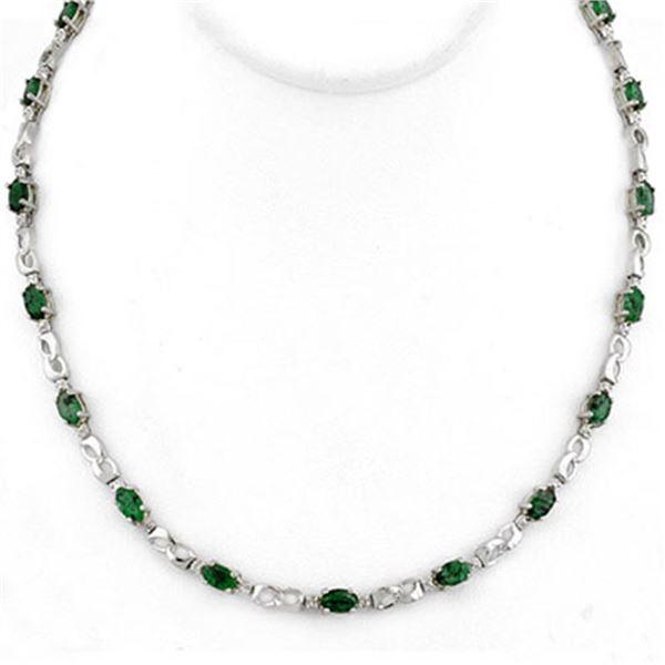7.02 ctw Emerald & Diamond Necklace 10k White Gold - REF-89H3R