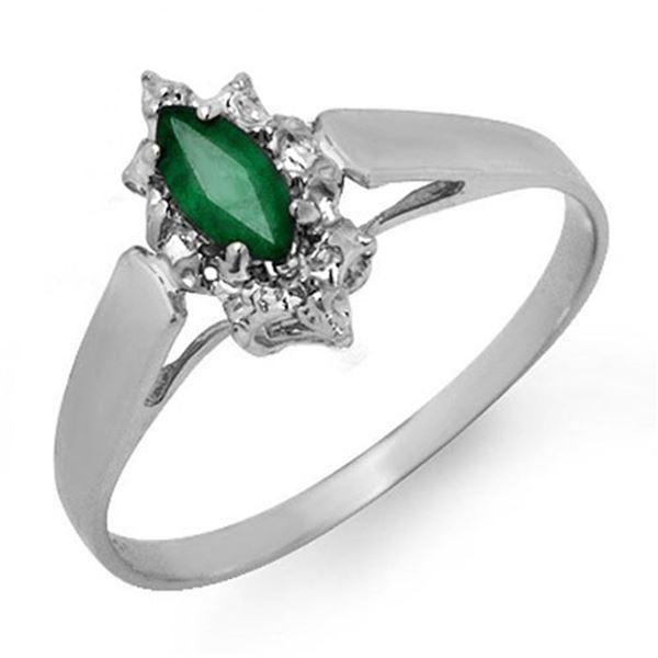 0.25 ctw Emerald Ring 18k White Gold - REF-14M2G