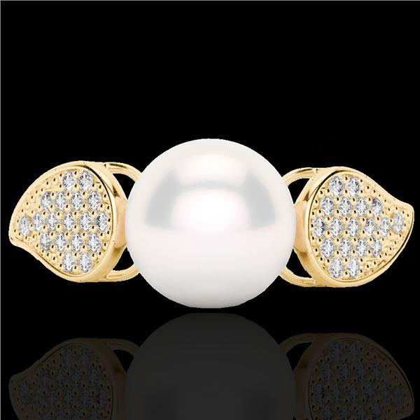0.27 ctw Micro Pave VS/SI Diamond & Pearl Designer Ring 18k Yellow Gold - REF-38X2A