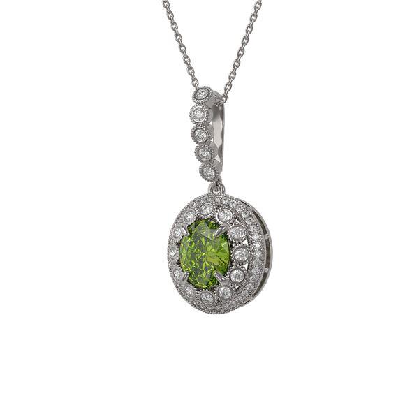 4.22 ctw Tourmaline & Diamond Victorian Necklace 14K White Gold - REF-134H2R