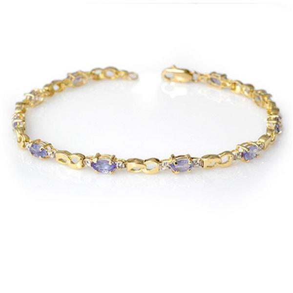 2.06 ctw Tanzanite & Diamond Bracelet 10k Yellow Gold - REF-32R8K