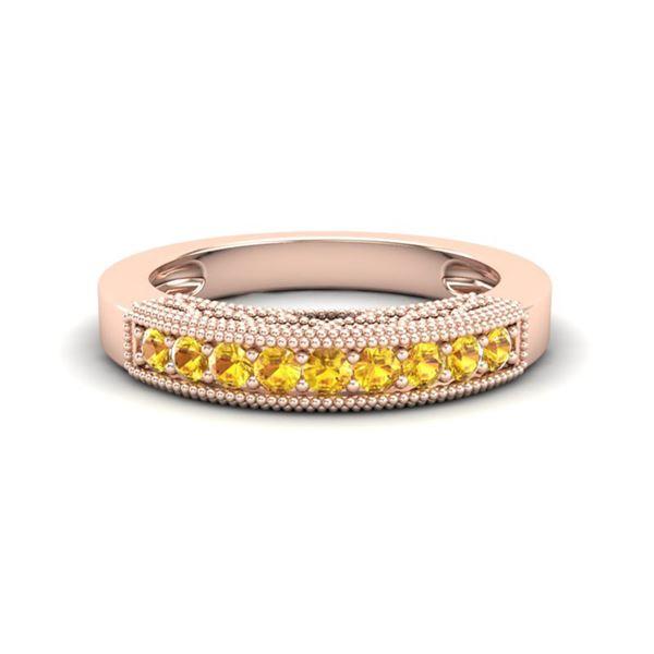 0.50 ctw Yellow Sapphire Art Deco Ring 10k Rose Gold - REF-13W2H