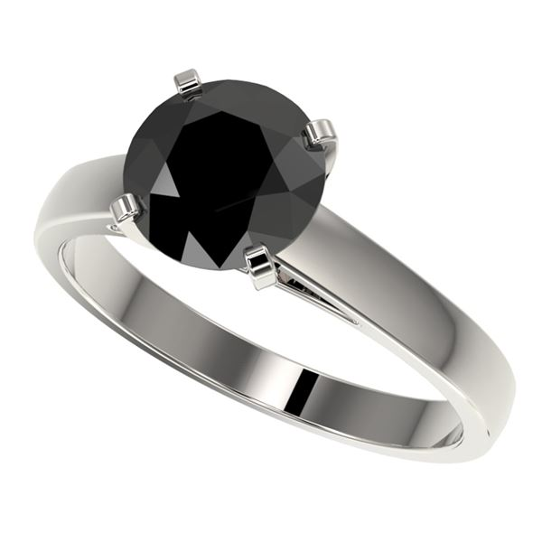 2 ctw Fancy Black Diamond Solitaire Engagment Ring 10k White Gold - REF-43F2M