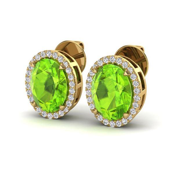 5.50 ctw Peridot & Micro VS/SI Diamond Halo Earrings 18k Yellow Gold - REF-56M2G