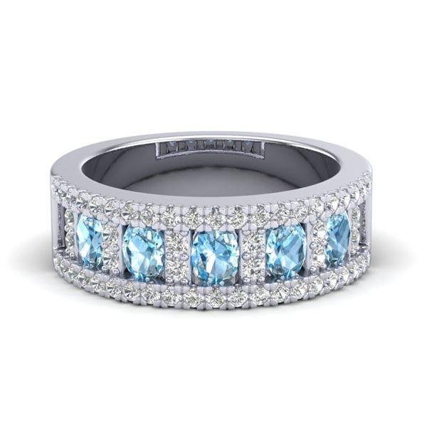 2 ctw TOPAZ & Micro Pave VS/SI Diamond Designer Ring 10k White Gold - REF-46W8H
