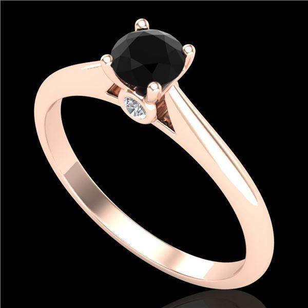 0.4 ctw Fancy Black Diamond Engagment Art Deco Ring 18k Rose Gold - REF-25F2M