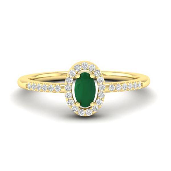 0.56 ctw Emerald & Micro Pave VS/SI Diamond Ring 18k Yellow Gold - REF-23M5G