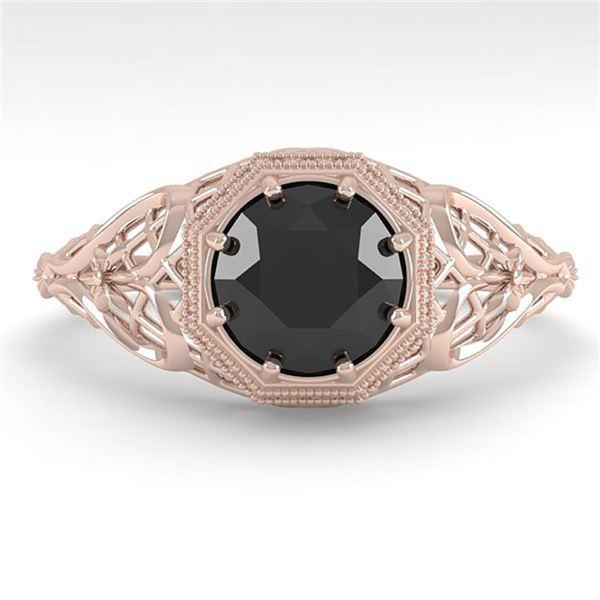 1.0 ctw Black Certified Diamond Ring Art Deco 14k Rose Gold - REF-35F2M