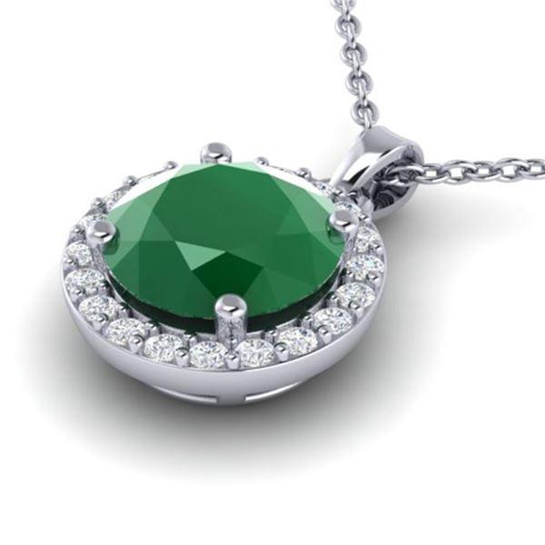 2 ctw Emerald & Halo VS/SI Diamond Micro Pave Necklace 18k White Gold - REF-38F2M