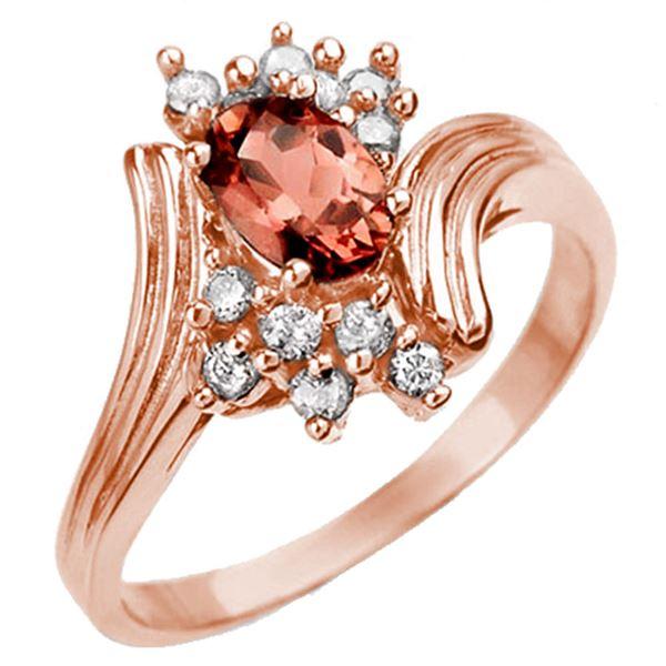 0.80 ctw Pink Tourmaline & Diamond Ring 14k Rose Gold - REF-27F2M