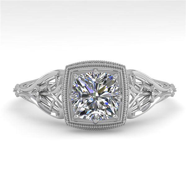 0.50 ctw Certified VS/SI Cushion Diamond Engagment Ring 18k White Gold - REF-113W8H