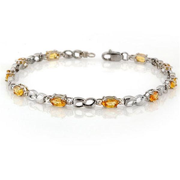 3.51 ctw Yellow Sapphire & Diamond Bracelet 10k White Gold - REF-26F3M