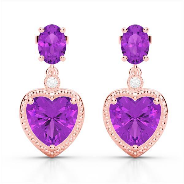 8 ctw Amethyst & VS/SI Diamond Designer Heart Earrings 10k Rose Gold - REF-32M8G