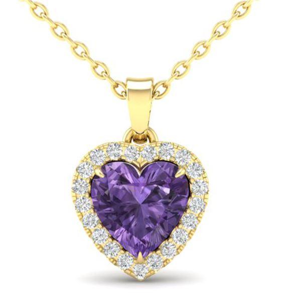 1 ctw Amethyst & Micro Diamond Heart Necklace Heart 14k Yellow Gold - REF-21R3K