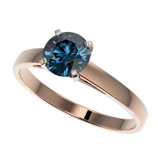 1 ctw Certified Intense Blue Diamond Engagment Ring 10k Rose Gold - REF-97G2W