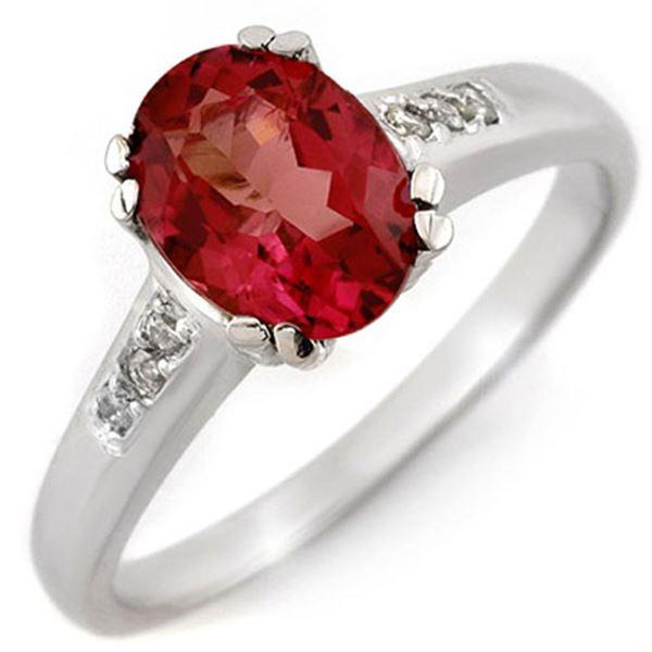 1.35 ctw Pink Tourmaline & Diamond Ring 10k White Gold - REF-27X3A