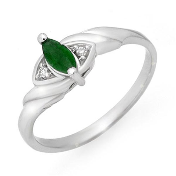 0.26 ctw Emerald & Diamond Ring 18k White Gold - REF-18G8W