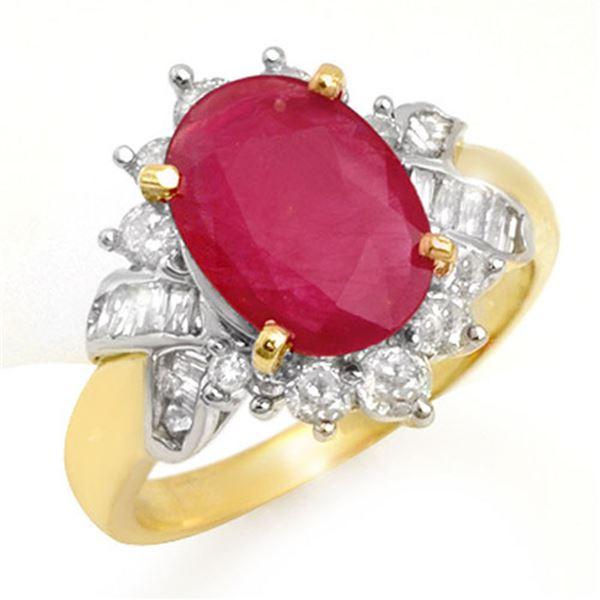 4.42 ctw Ruby & Diamond Ring 14k Yellow Gold - REF-76R5K
