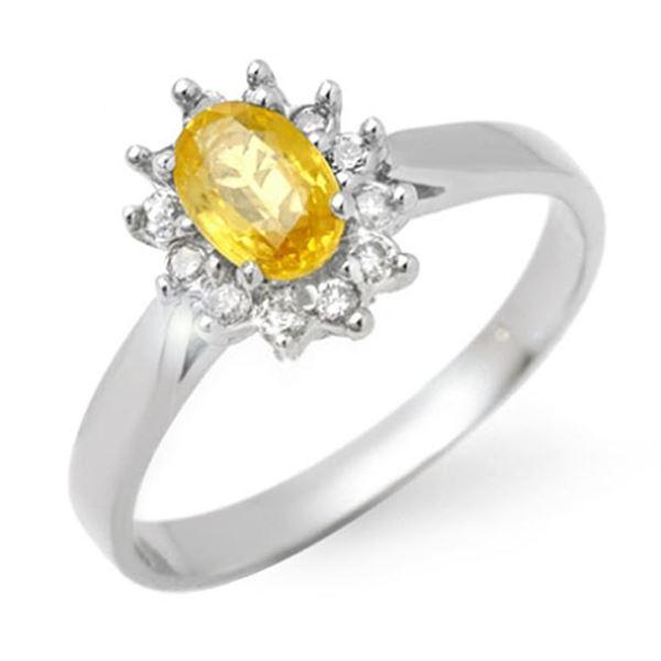 0.83 ctw Yellow Sapphire & Diamond Ring 18k White Gold - REF-29Y8X
