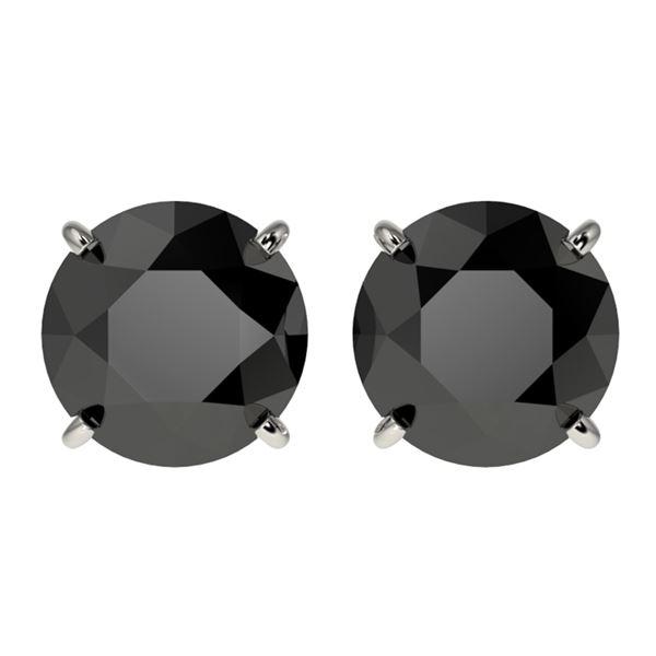 3.70 ctw Fancy Black Diamond Solitaire Stud Earrings 10k White Gold - REF-60A3N